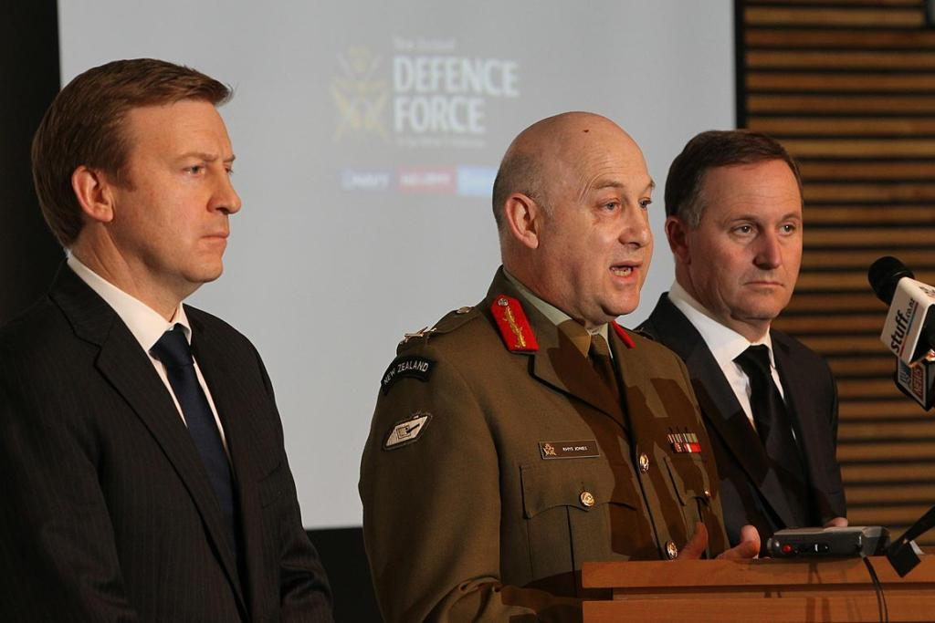 Defence minister Jonathan Coleman, Defence chief of staff Rhys Jones, and Prime minister John Key,