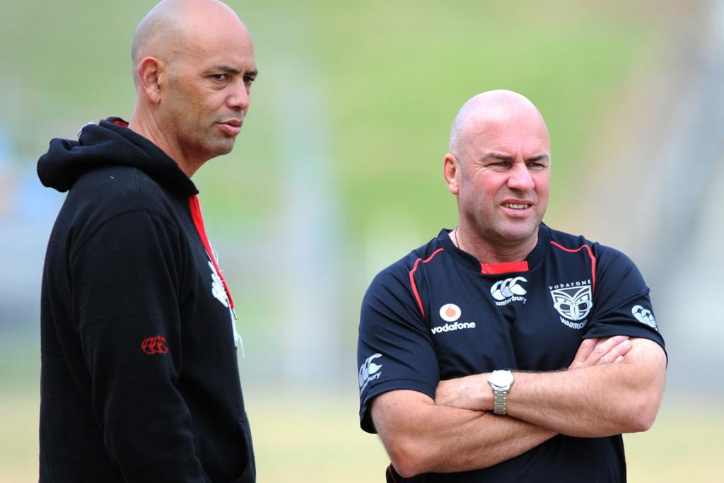 Head coach Brian McClennan and assistant coach Tony Iro at a Warriors training session.