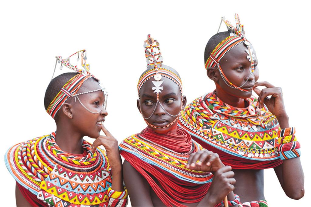 Samburu girls in beaded regalia.