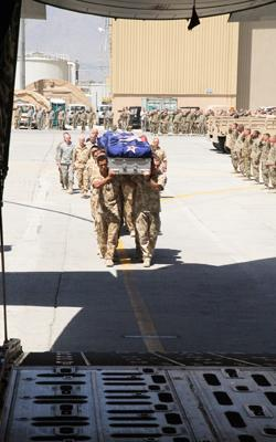 CEREMONY: The three caskets are carried to the Royal Australian Air Force C-130 by members of the NZ Provincial Reconstruction Team.