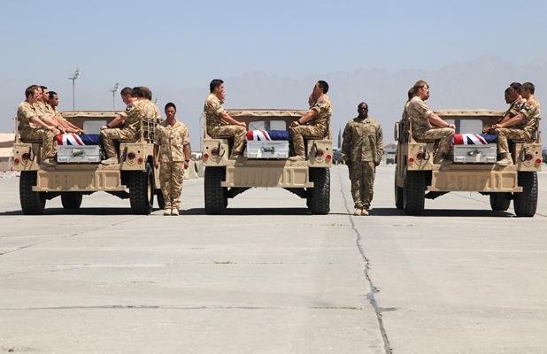 FAREWELL: The caskets of the three fallen NZ soldiers at Bagram Air Base.