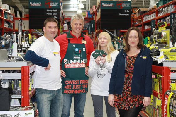 Winning ways: More FM DJ Glenn Kirby, Bunnings Warehouse Blenheim manager Callum Anderson, winner of the competition to attend the final of The Block Tracy Creswell and More FM DJ Natasha Knox shortly after Tracy was presented with her prize yesterday
