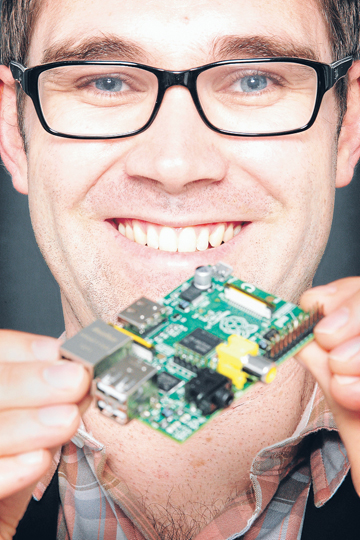 EASY AS PI: Brett Morris with his ultra rare Raspberry Pi.