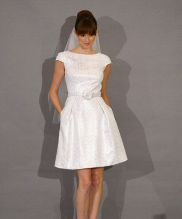 SIMPLE CHOICE: A gown from the Autumn 2012 collection of Theia Bridal, one of the possible designers of Jennifer Aniston's dress.
