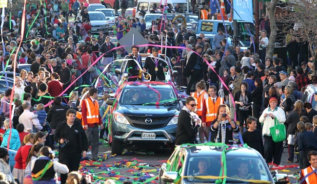 GRAND WELCOME: Thousands pay tribute to Southland's Olympians in a grand homecoming in Esk St during the ticker-tape parade through Invercargill yesterday.