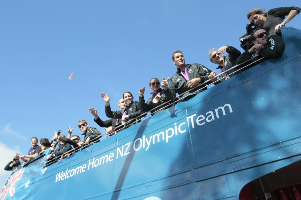 Olympians wave to students of Cobham Intermediate School in Christchurch.