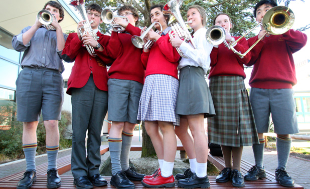 BAND STANDING: Quintin Blaas, 15; Shaun Chalmers, 16; William Swan, 14; Jade Halford, 15; Claire Yorkstone, 15; Anna Redmond, 14; and Horace Zhang, 13 will be going to Rotorua in October to be part of the National Secondary School Brass Band.