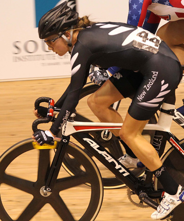 MORE SILVER: New Zealand's Sophie Williamson finishing second in the 7.5km scratch race.