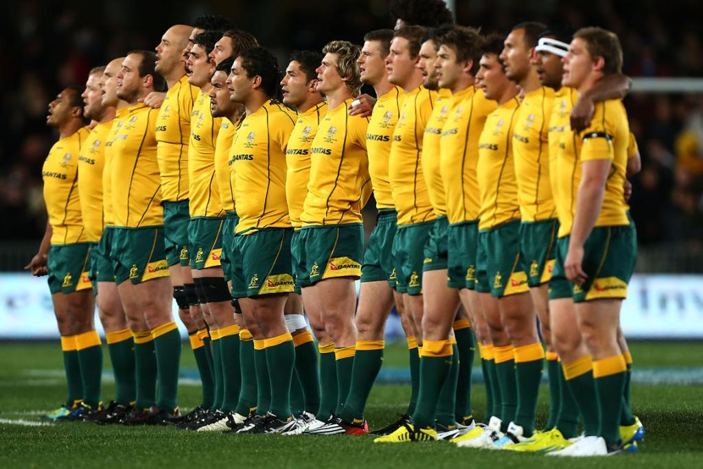 The Wallabies sing their national anthem.