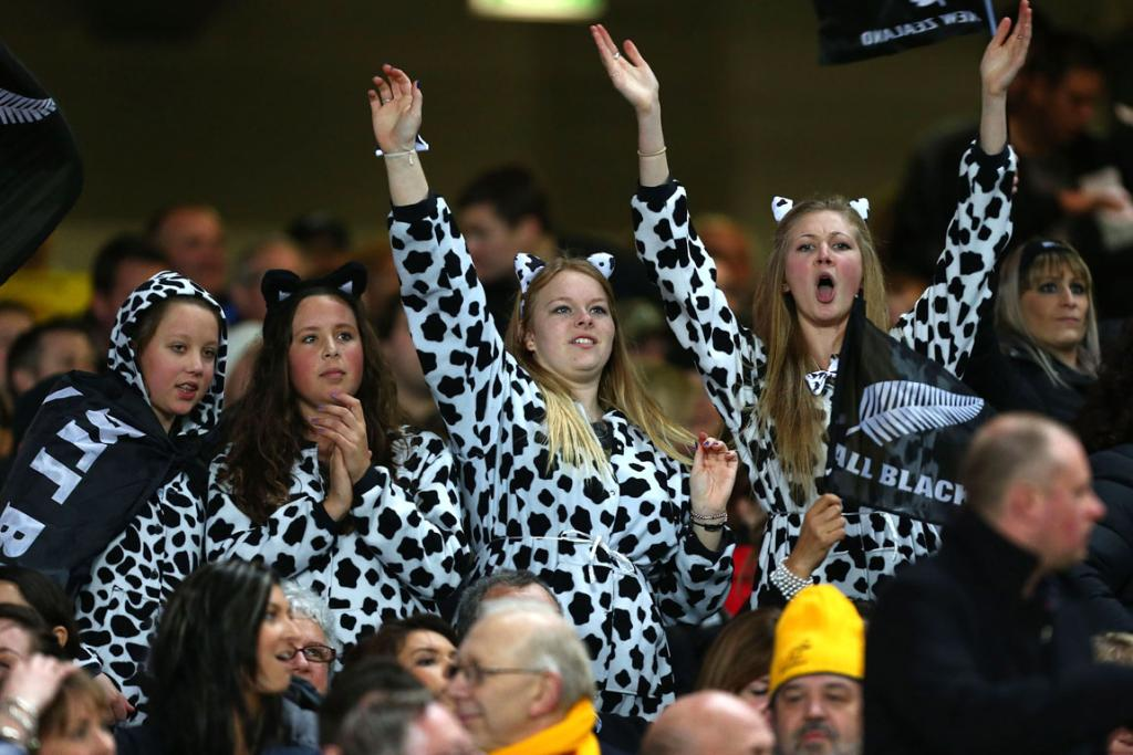 All Blacks fans show their support.