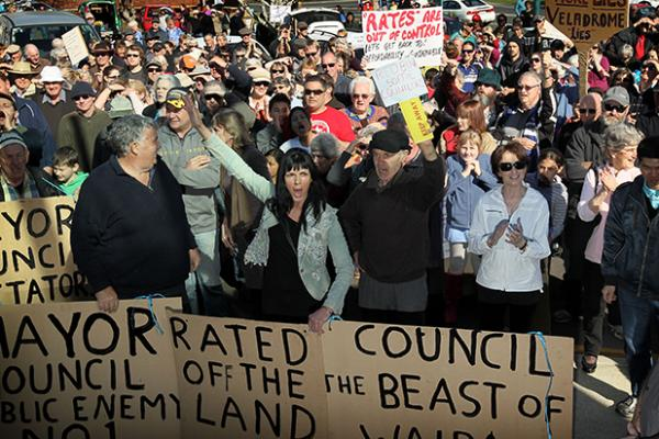 ANGER GROWS: Waipa ratepayers were sparked into marching on the district council offices in Te Awamutu on Saturday.