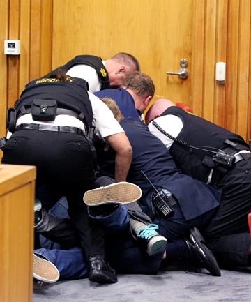 BRAWL: The fight which erupted in the New Plymouth District Court.