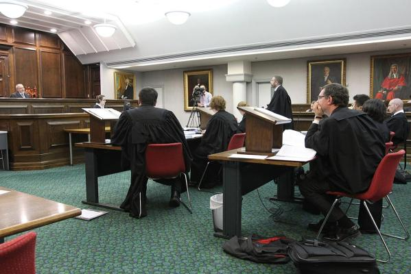 The hearing, underway at the High Court in Wellington.