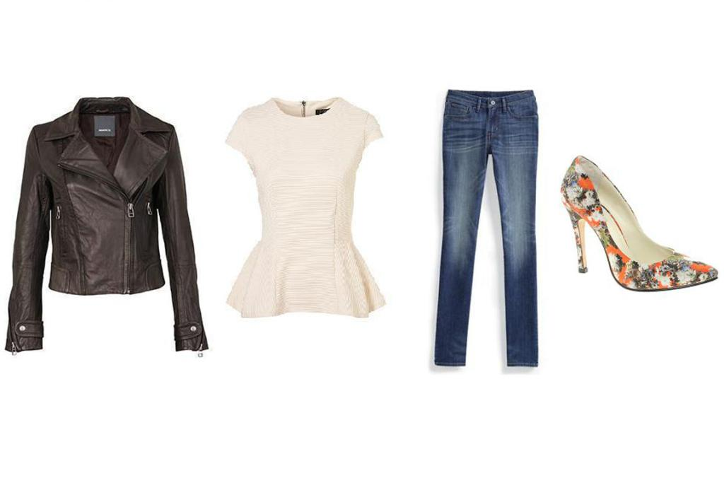 Rockabilly Cool: Marcs leather jacket, $699; Topshop top; Levi's jeans, $139; Emma Cook heels, $330 from Asos.com