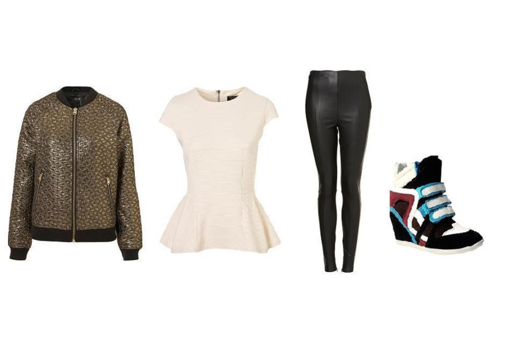 Sport Chic: Jacket, $156; Topshop top as before; Topshop pants, $62, and Boohoo shoes, $75.