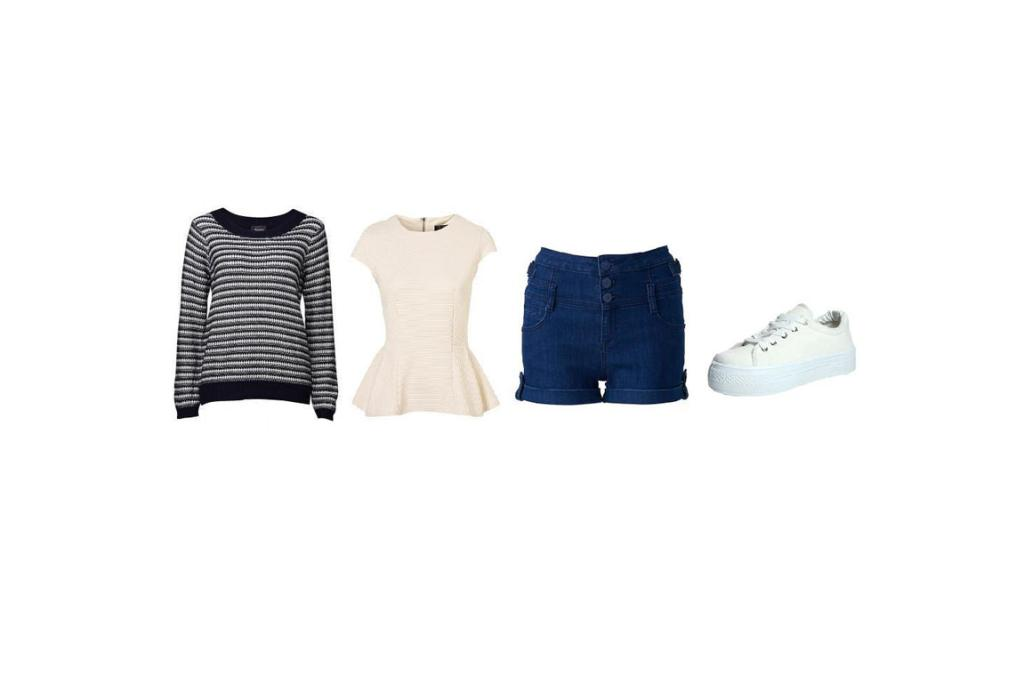 Weekend Casual: Jumper, $59.99 from Jeans West; Topshop top as before; Shorts $59.99 from Forever New; and shoes $40 from Boohoo.co.nz.