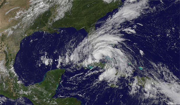 TROPICAL STORM: Isaac, seen in this NASA satellite image as it approaches the Florida Keys.