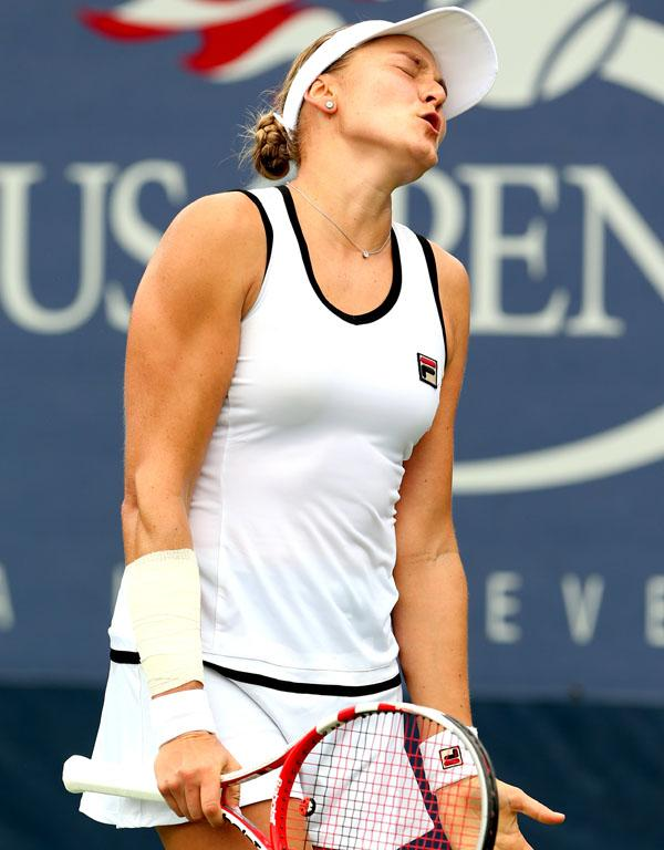Nadia Petrova of Russia reacts during her women's singles first round match against Jarmila Gajdosova of Australia.