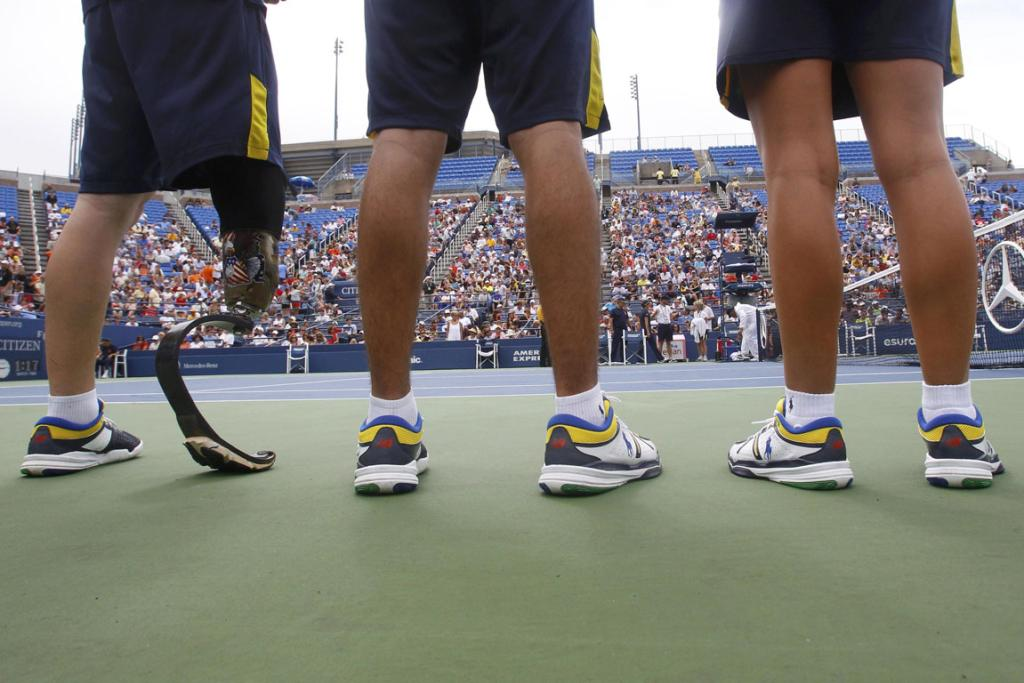 Ball boys look on as day one of the US Open gets underway.
