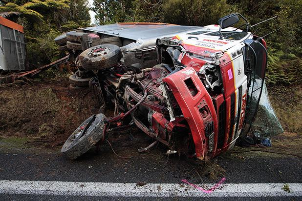 CRASH: The incident happened on an easy, damp, bend at the top of the Mamaku Range at 8.30am.