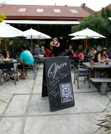 SIP IN THE SUN: The courtyard at Deville cafe in New St is just one of Nelson's sunny spots for morning coffee.