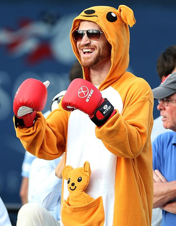 An Australian fan gets into the spirit as he supports Matthew Ebden in his first round match.