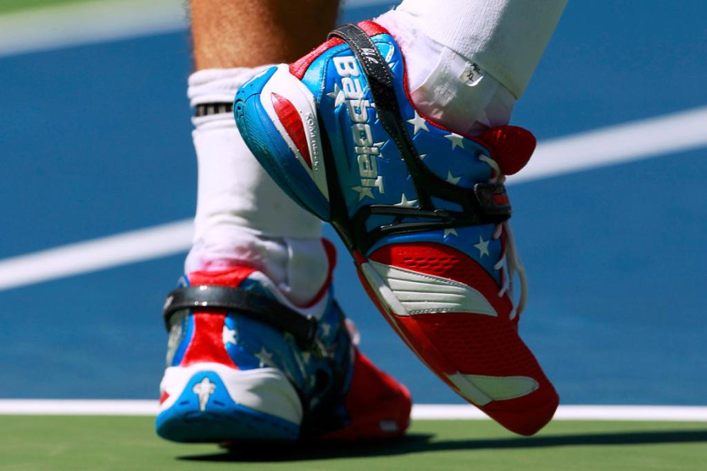Andy Roddick's red, white and blue kicks at the US Open.