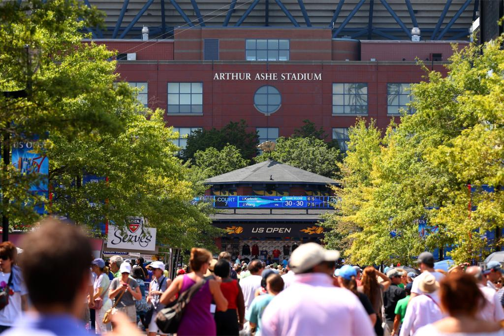 Fans walk the grounds during day two of the 2012 US Open.