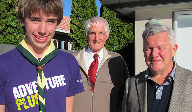 SHARED PASSION: Venturer Tom Whitely and ex-leaders Bert Phillips and Norman Johnston share a love of Scouting.