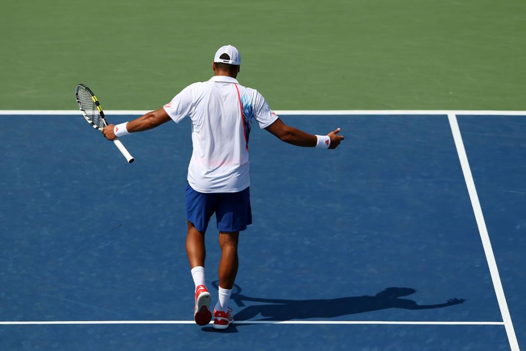 Jo-Wilfried Tsonga reacts during his second round loss to Martin Klizan of Slovakia.