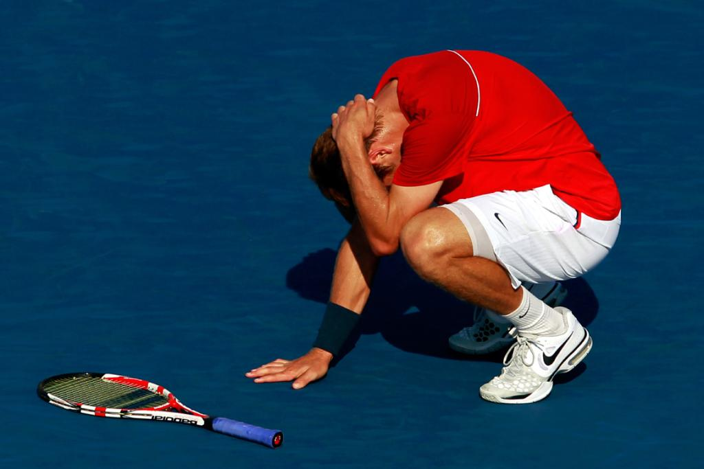 Ryan Harrison reacts after a point during his singles loss to Juan Martin Del Potro.