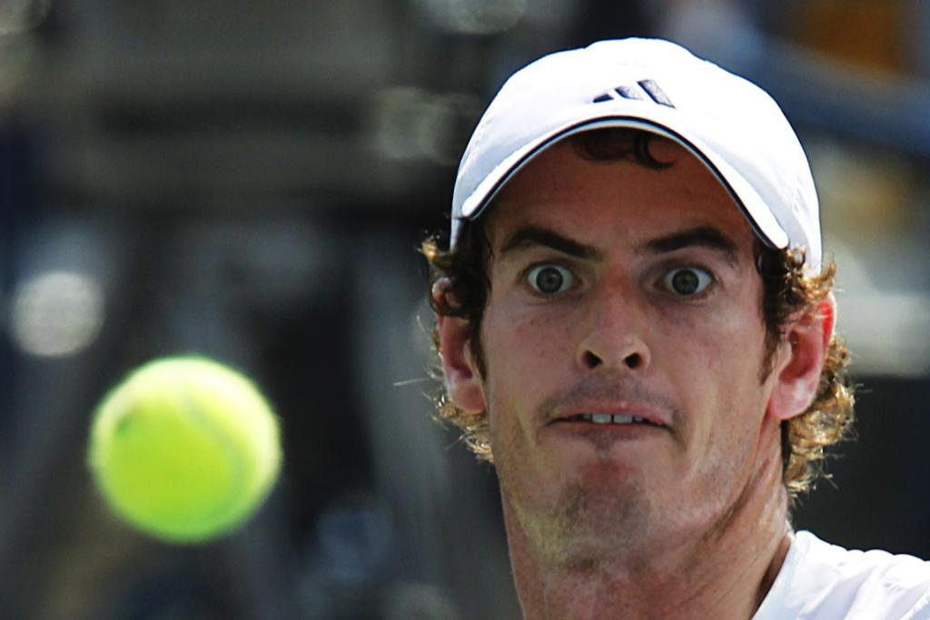 Andy Murray eyes his next shot during his match against Feliciano Lopez.