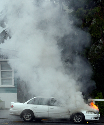 Car fire on Carrington St