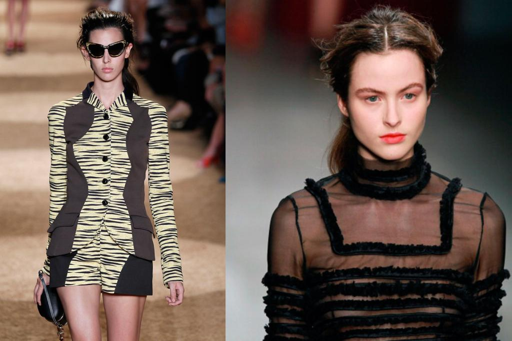 The look on the catwalks of Proenza Schouler (R) and Emilio de la Morena