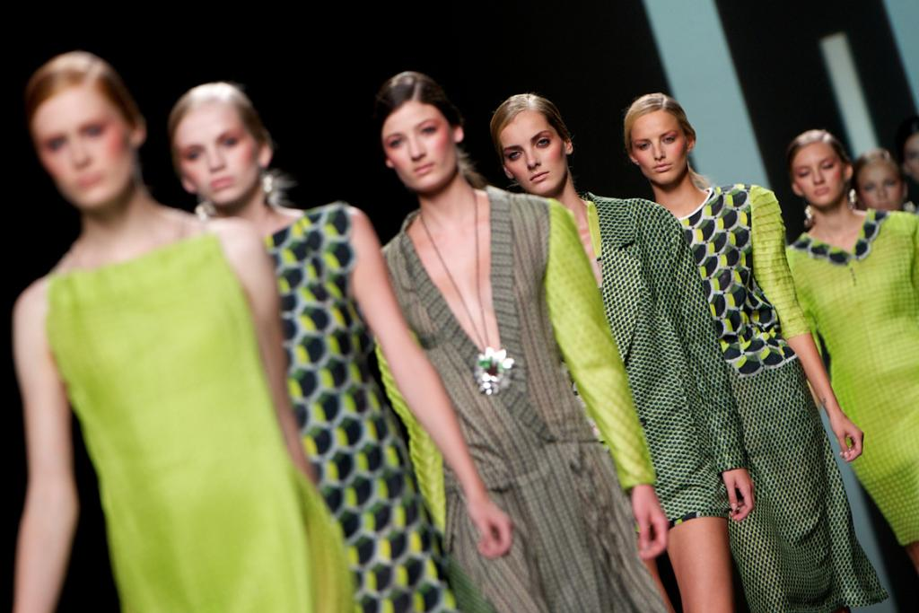 Models walk the runway in the Martin Lamothe fashion show during the Mercedes-Benz Fashion Week in Madrid.