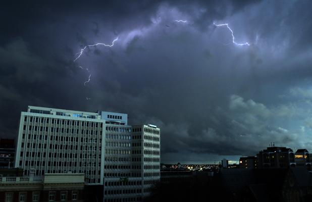 LIT UP: Lightning over the city this evening, as seen from The Press building.