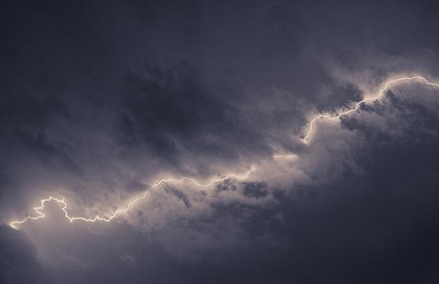 STORM: Lightning streaks across the Christchurch sky.