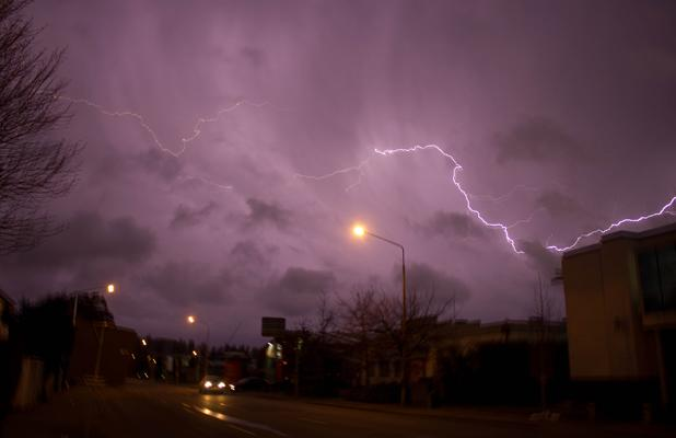 FORKED: Double flashes across the city this evening.