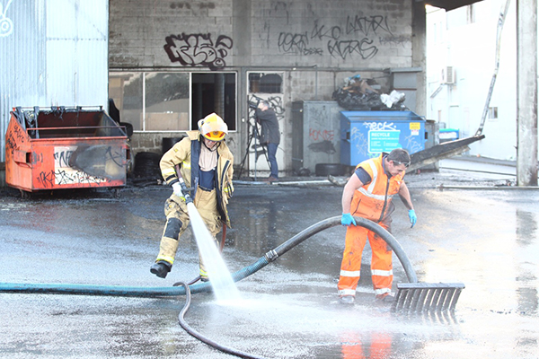 The fire broke out in the rear of AH Franks Tyres, on Anglesea St, just before 5am.
