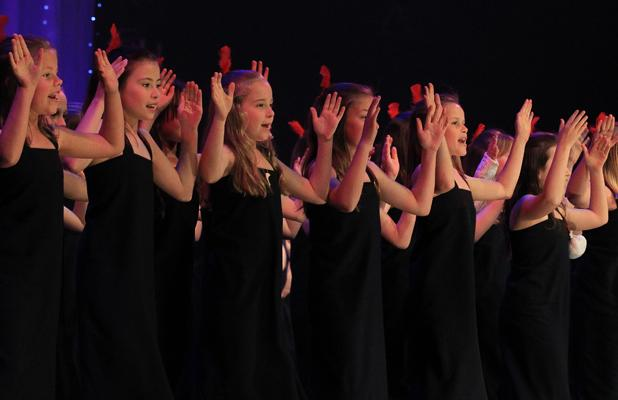 CULTURE: Fendalton School's group on stage at the CBS Arena last night.