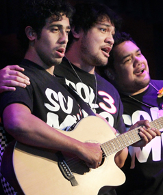 IN HARMONY: O Sol3 Mio perform their opera with humour at Shirley Boys' High School. From left, Mosey Mackay, 22, Amitai Pati, 23, and Pene Pati, 24.
