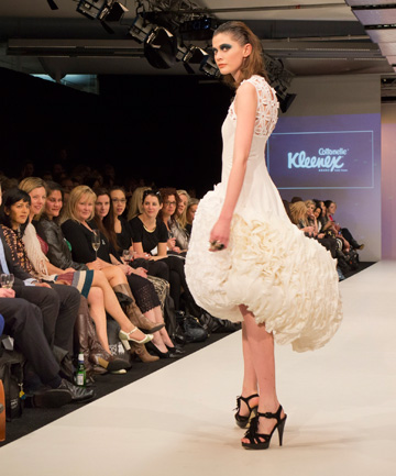 CLEANING UP: Kapi Fonua's toilet paper dress on the catwalk at New Zealand Fashion Week.