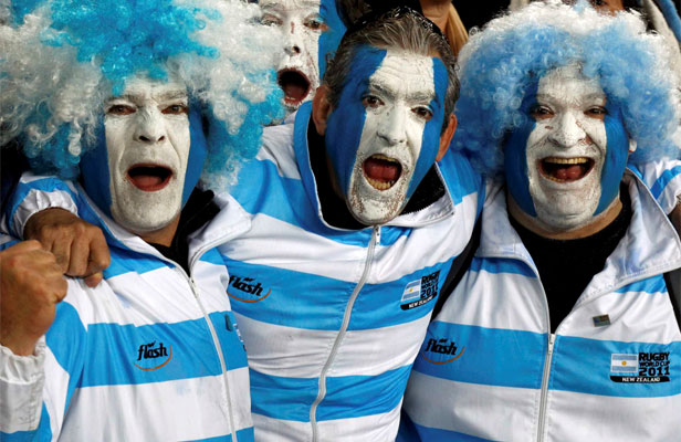 VIVA LOS PUMAS: Argentina fans at a Rugby World Cup match in Auckland last year.