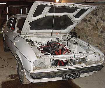 The 1974 Mk 2 V6 Capri during its rebuild.
