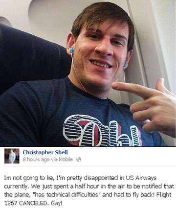 SHOCKED: Philadelphia resident Christopher Shell pictured in the plane and the message he posted on Facebook before realising he was the reason for its grounding.