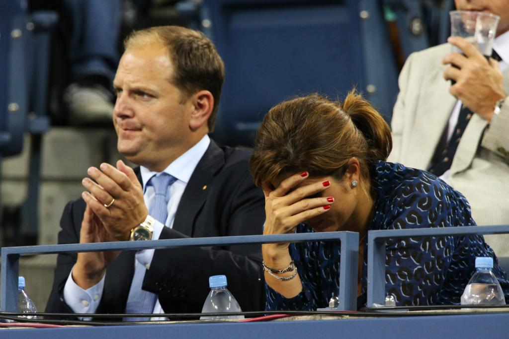 Roger Federer's wife Mirka Federer and agent Tony Godsick can barely watch as the world No 1 loses to Tomas Berdych.