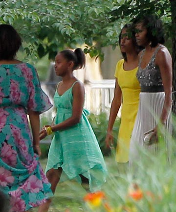 Sasha, Malia and Michelle Obama