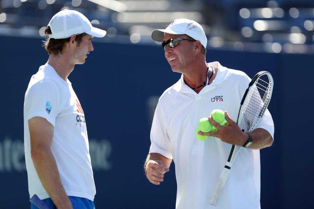 Andy Murray talks to his coach Ivan Lendl during a training session ahead of the men's final.