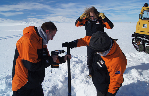 University of Canterbury Antarctic expert Adrian McDonald, left, carries out a test in Antarctica as part of his research on how winds and circulation in the atmosphere impact ozone depletion.