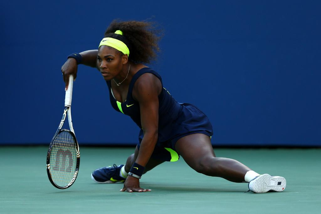 Serena Williams is at full stretch during the final against Victoria Azarenka.